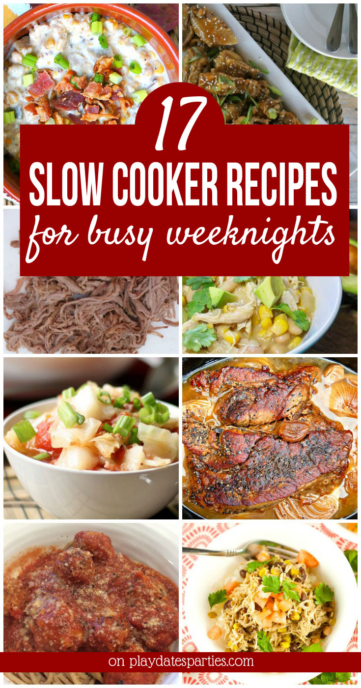 Making slow cooker dinner recipes can be a great way to reduce stress on busy weeknights. And they don't have to be boring either! Here are 17 nearly dump-and-go crock pot recipes for chicken, beef, pasta and more. They're all simple recipes that are perfect for families with active kids. #crockpot #crockpotrecipes #easydinner #slowcooker #slowcookerrecipes #recipes #comfortfood