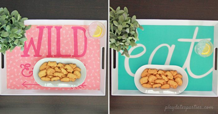 Two different versions of this easy 5-minute interchangeable serving tray decoration.