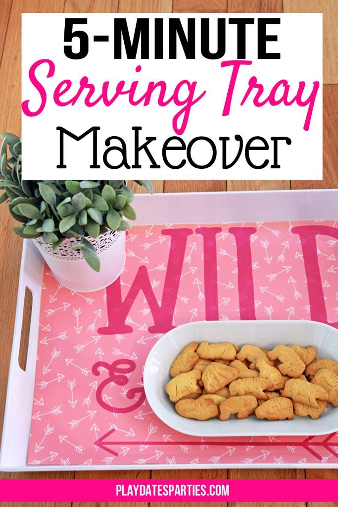 Changing up your #party #decorations doesn't mean you have to buy new every time. Instead, learn how to make an interchangeable serving tray decoration for every party with this cheap and easy 5-minute #DIY home decor craft.