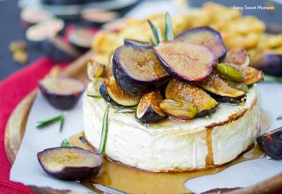 Appetizers for a Fall Party: Honey Baked Brie with Figs and Rosemary by Living Sweet Moments