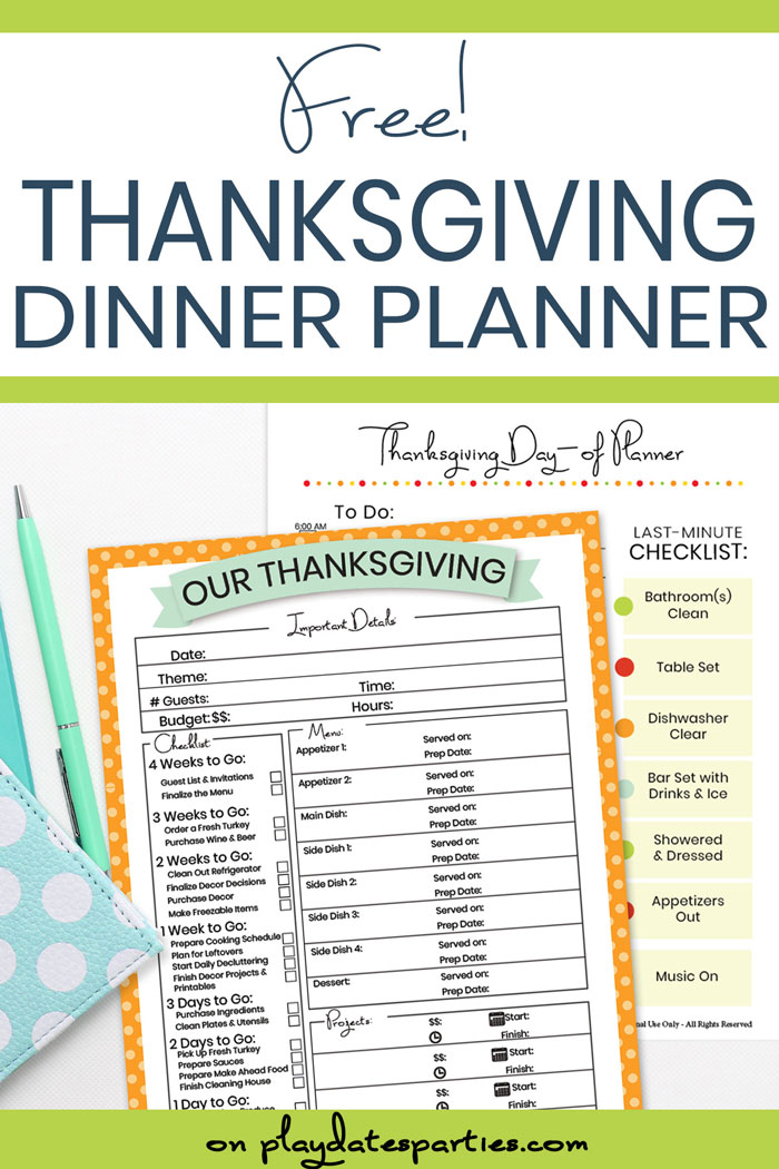 Desk with free thanksgiving dinner planner printables