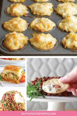 Collage of fall appetizers.