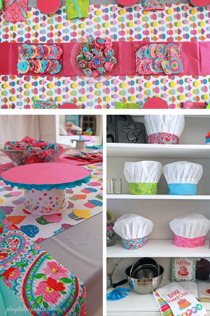 Baking birthday party activities and decorations, including simple cupcake stands, custom chef hats, and colorful clips to decorate aprons and hats.