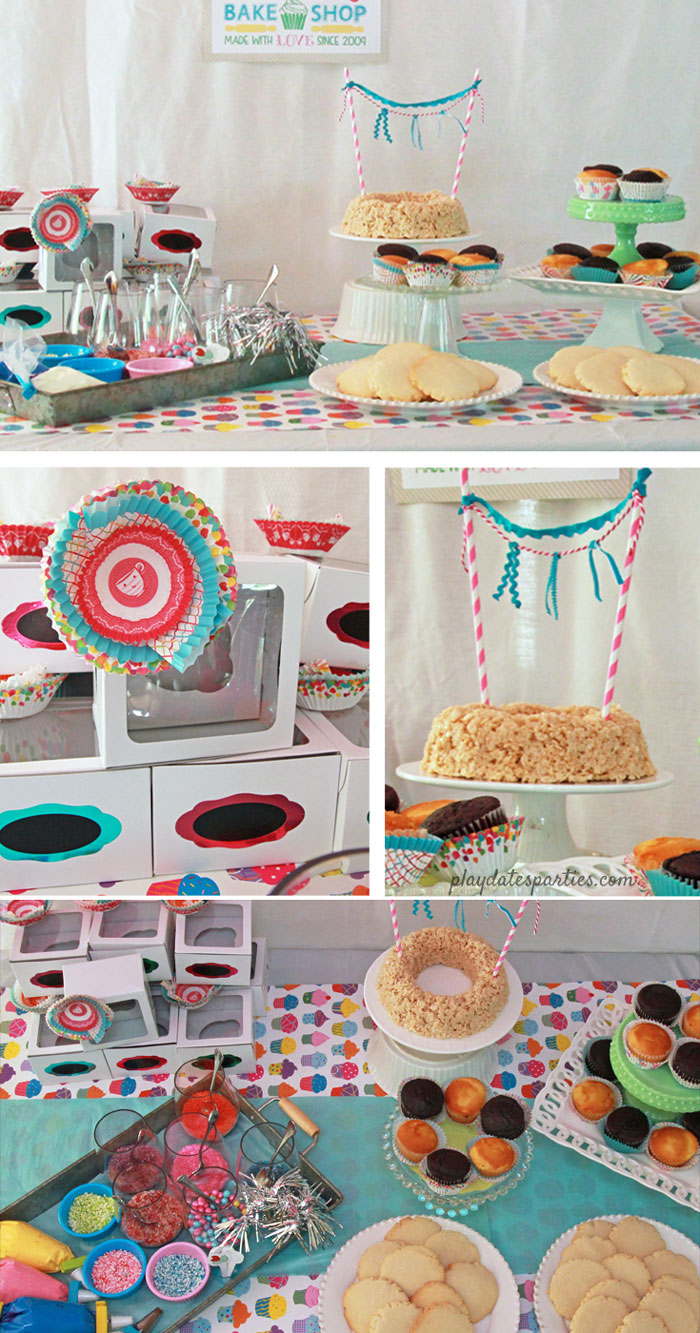 This cake decorating party is FILLED with adorable DIY baking birthday party ideas, including custom chef hats, and how to find decorations right in your own kitchen! #bakeshoppepartyideas #cupcakedecorating #pdpcelebrates