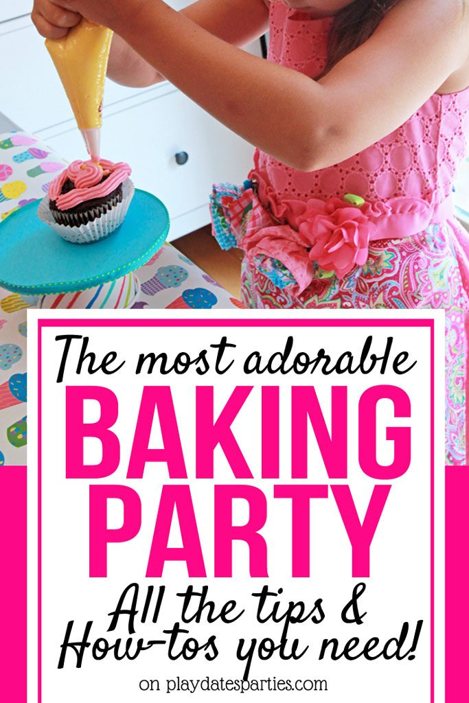 This is just the sweetest birthday party theme for kids! It's a bake shop party full of fun ideas, including party games and activities, a decorate your own cookie and cupcake station, aprons, and easy decorations from your own kitchen. If your child loves sweets or cooking, then you definitely want to try these tips and ideas for their next birthday. #bakingparty #partyideas #kidsparties #partystyling #PartyPlanning #birthdayparty #girlsparty #cupcakes