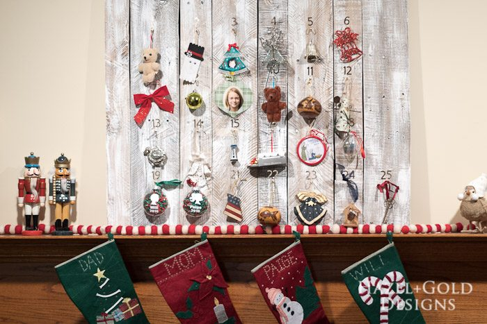 DIY Customizable Rustic Wooden Advent Calendar from H & G Designs.