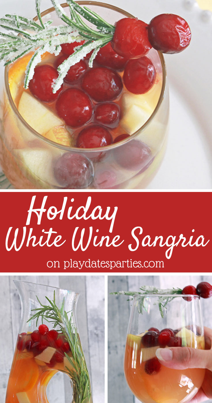 Looking for a fun drink to share with friends and family at holiday parties? White wine holiday sangria is an easy big batch recipe that you can make for parties or happy hour at home. Filled with seasonal fruit and garnished with frosted rosemary, it's the perfect holiday drink #Christmas #ChristmasDrinks #ChristmasCocktails #CocktailRecipes #partyideas #drinkrecipes #Christmasrecipes #cocktails #wine