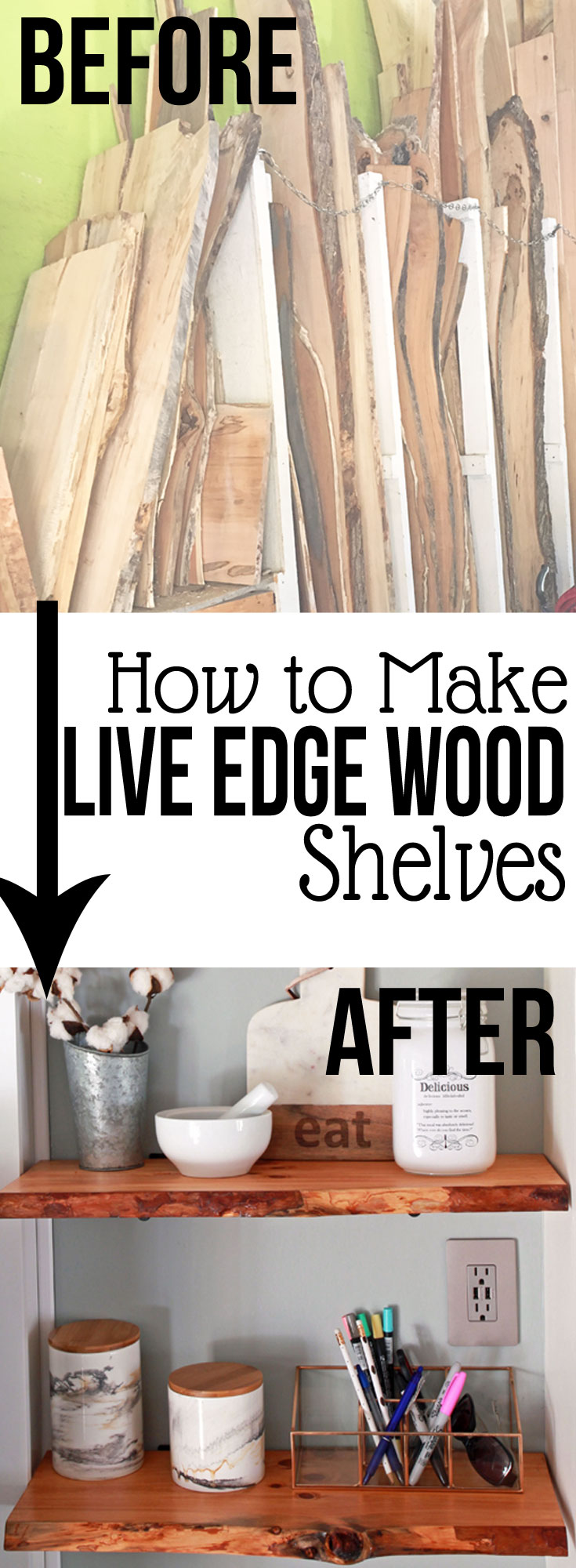 Take Your Modern Farmhouse Decor To The Next Level With Live Edge Wood Shelves Jpg 735x2000
