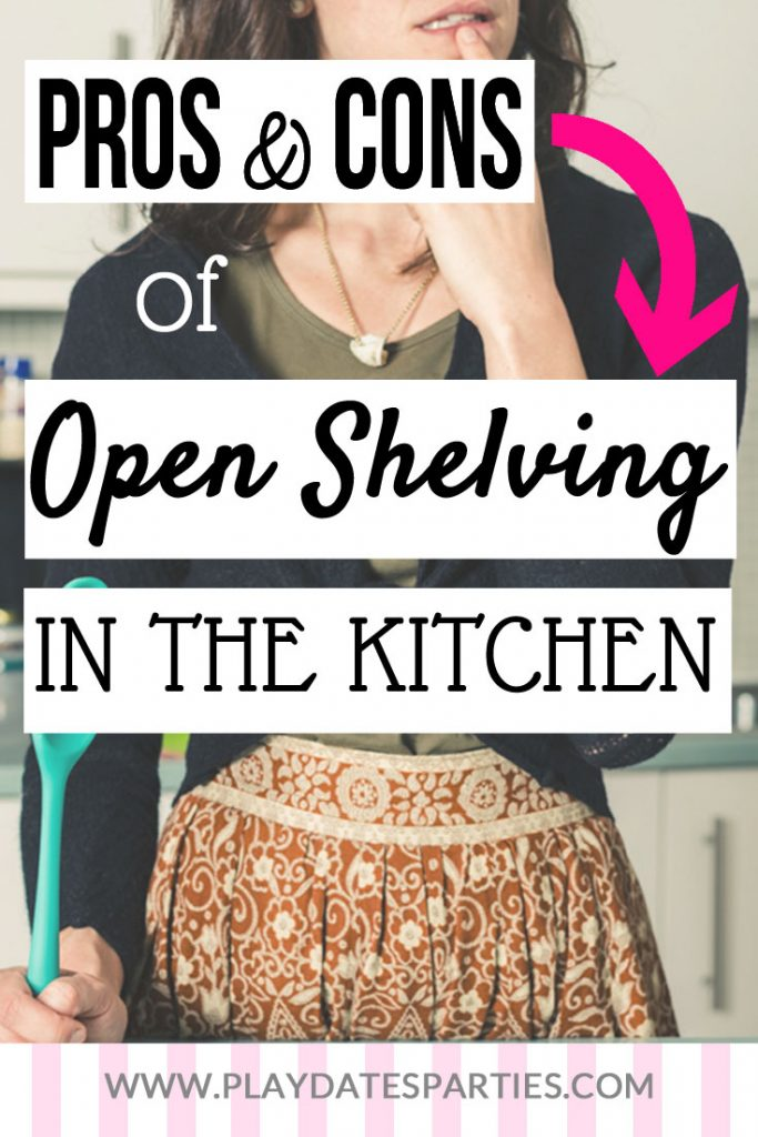 Open shelving in kitchens has been one of the hottest kitchen trends for several years now. And whether or not you love or hate it, the trend looks like it's here to stay. But before you take down those cabinets and start renovating, check out these pros and cons, plus tips for five ways to recreate the look yourself, and how to best incorporate open shelving when you have a small kitchen and a busy family. #kitchens #homedecor #openshelving