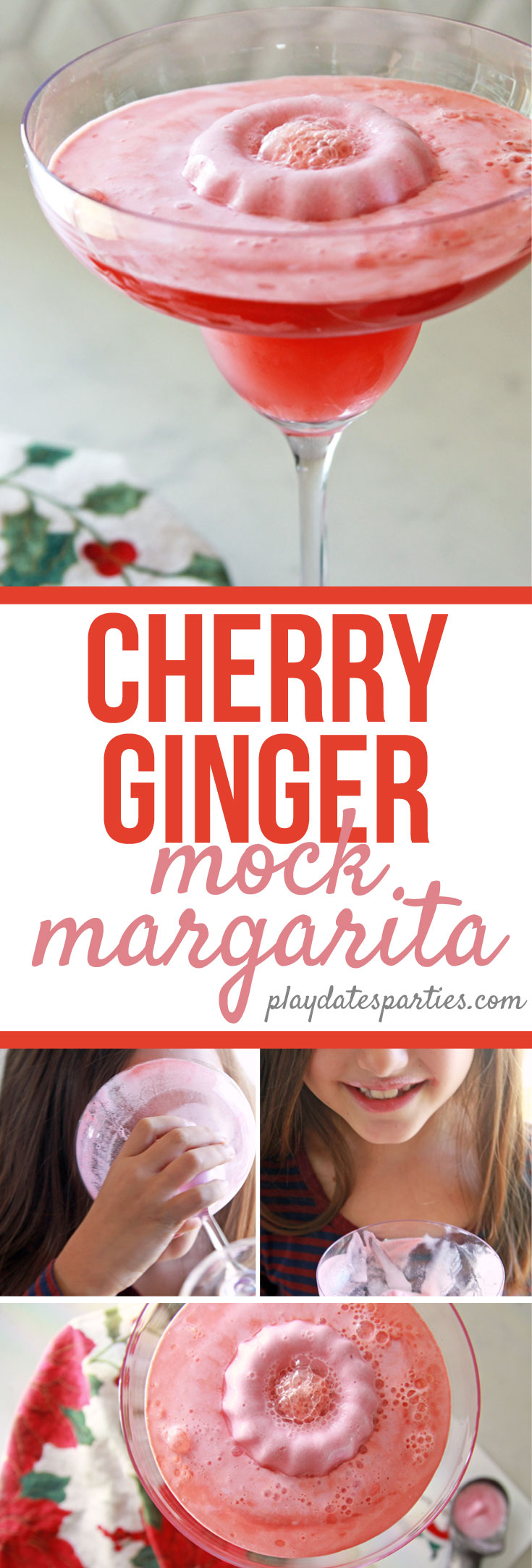 Want a fun and unique holiday dessert recipe for your kids this Christmas? Try making this cherry ginger mock margarita recipe! It's perfect for a special night at home or as a party drink for kids to enjoy. Served in kid-friendly plastic glasses, it's half drink and half sweet treat. #virgin #cocktails #kids #holidayrecipes #drinkrecipes #christmas #holidaysweettreats