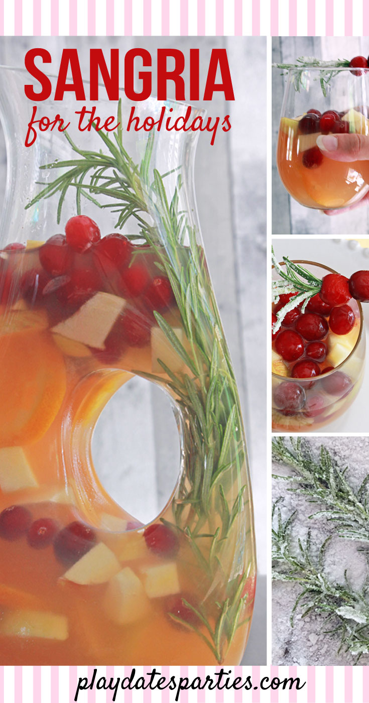 Your holiday brunch needs a pitcher of this white wine holiday sangria with rosemary and cranberries. It's gorgeous right in the pitcher, but the sangria recipe is made even prettier with a garnish of sugar frosted rosemary speared cranberries.
