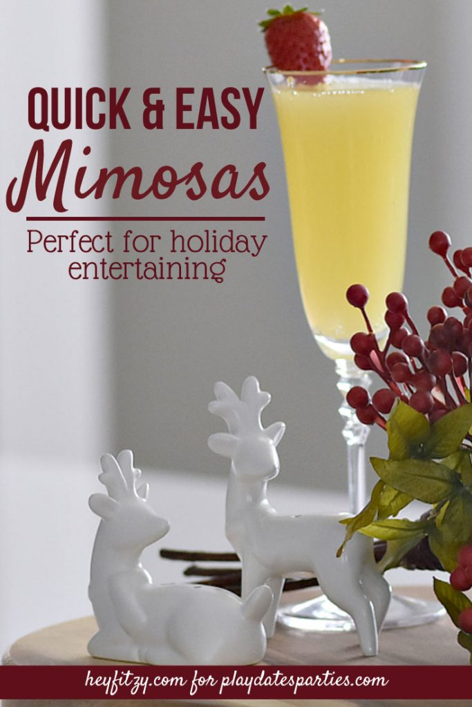 There's a reason everyone loves a quick and easy mimosas recipe for brunch, or any other celebration. In only 5 minutes you can whip up the classic orange mimosa or a fun non alcoholic drink that everyone in the family can enjoy.  #mimosa #cocktail #drinks #champagne #alcohol #partydrinks #simplerecipe #brunchrecipes