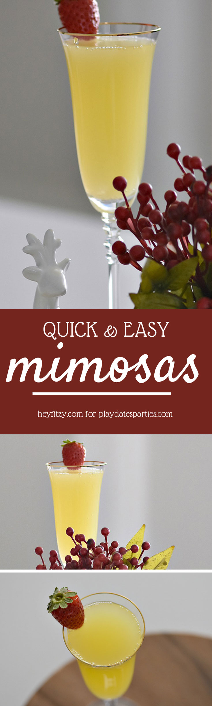 Easy mimosas are a classic and classy way to celebrate any occasion.  Make either the classic orange and champagne recipe or the kid-friendly non alcoholic version. Either way this mimosa recipe is perfect for family get-togethers at Christmas, Mother's Day, or for any other party! #mimosa #cocktailsrecipe #drinkrecipes #champagne #beverage #recipes #brunch #partycocktails