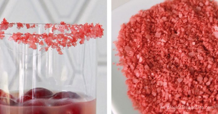 Add some color to your fiesta! Learn how to make colored margarita salt and 7 other easy ways to garnish your cocktails that will take your party drinks to the next level!