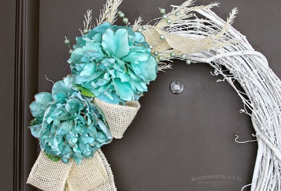 Mint & White Winter Wreath From Kleinworth & Co.