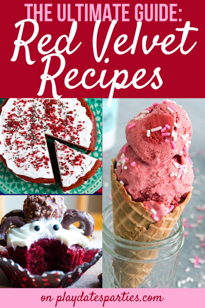 A collage of red velvet recipes, including red velvet cake, red velvet ice cream, and a red velvet cupcake.