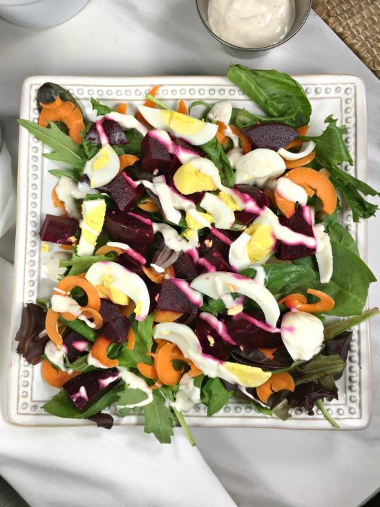 Spinach Beet Salad with Creamy Blue Cheese Dressing From Looney For Food.