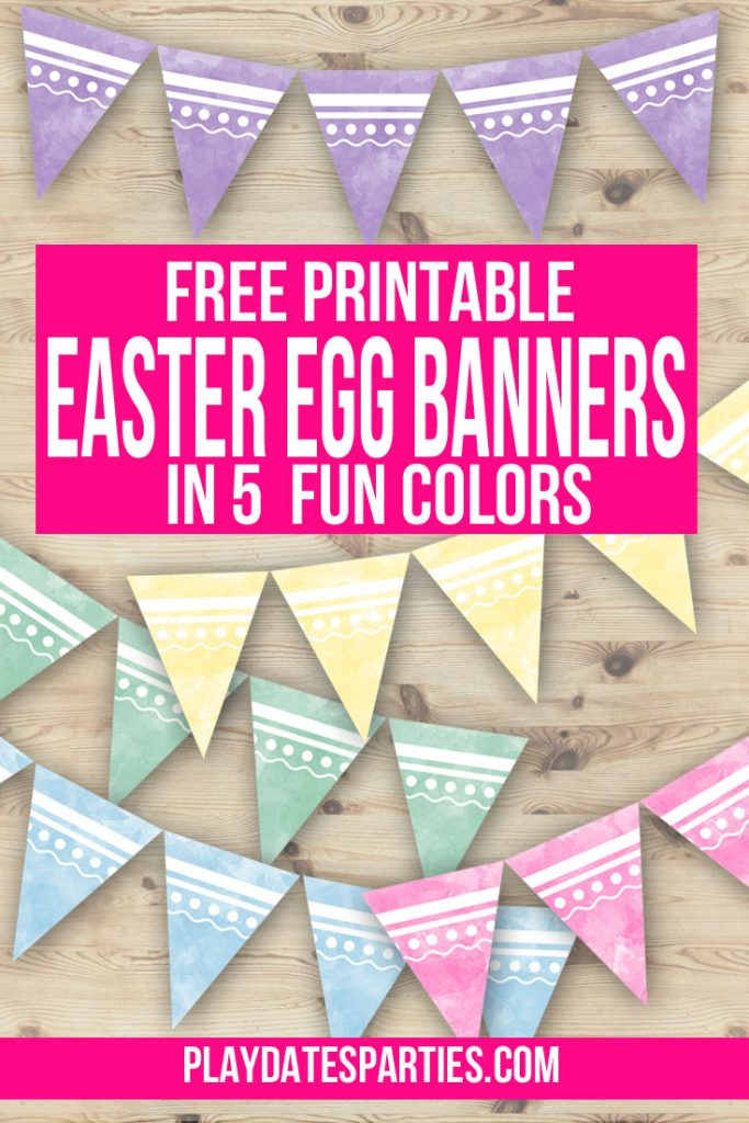 mockup of pastel watercolor bannners in blue, pink, green, yellow, and purple with text overlay free printable Easter egg banners in 5 fun colors