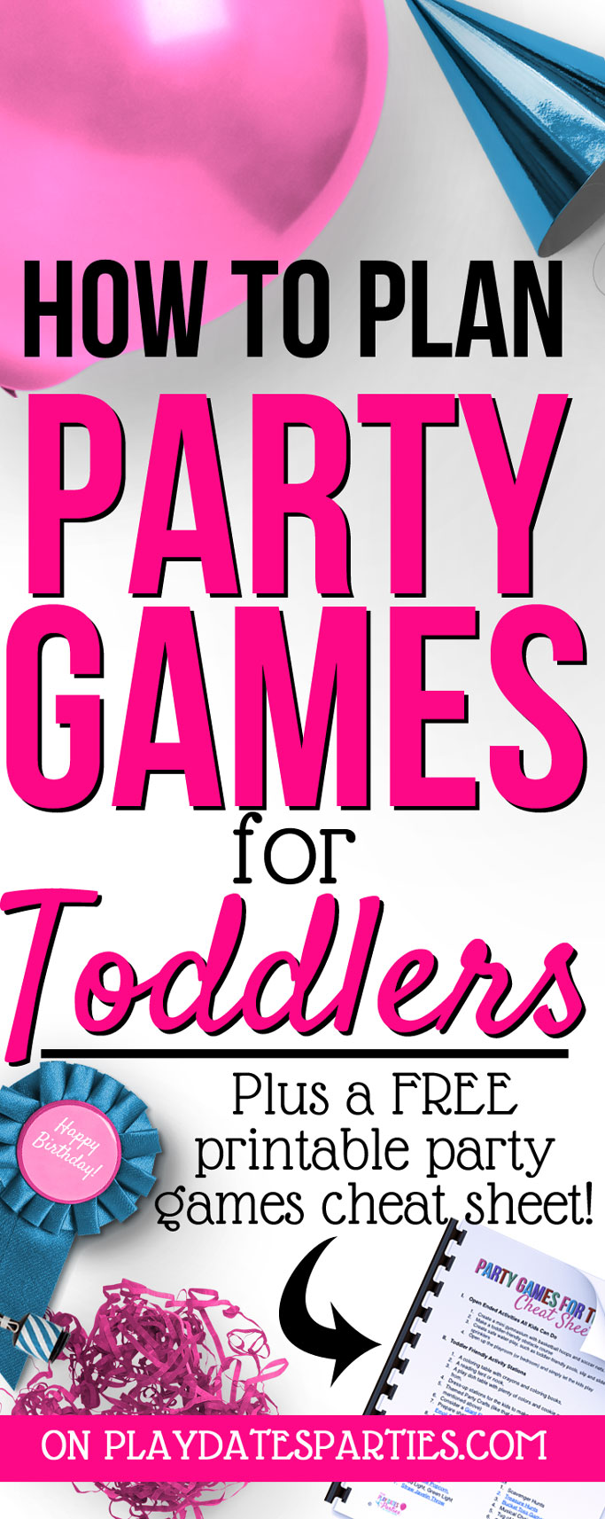Have a gaggle of toddlers coming over for a party? No sweat! Head to playdatesparties.com an easy 3-step plan for party games for toddlers that won't stress you out! #toddlers #party #birthday #kids