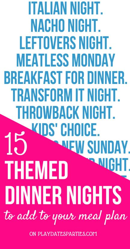 Sometimes I'm just stuck for ideas when meal planning the weekly menu for my family. And that's when adding dinner night themes comes in so handy! It's a great way to introduce new and healthy food to the kids while keeping everything fun at the same time. With these three tips and 15 different options, you can always switch to a new theme to keep things creative. #family #mealplanning