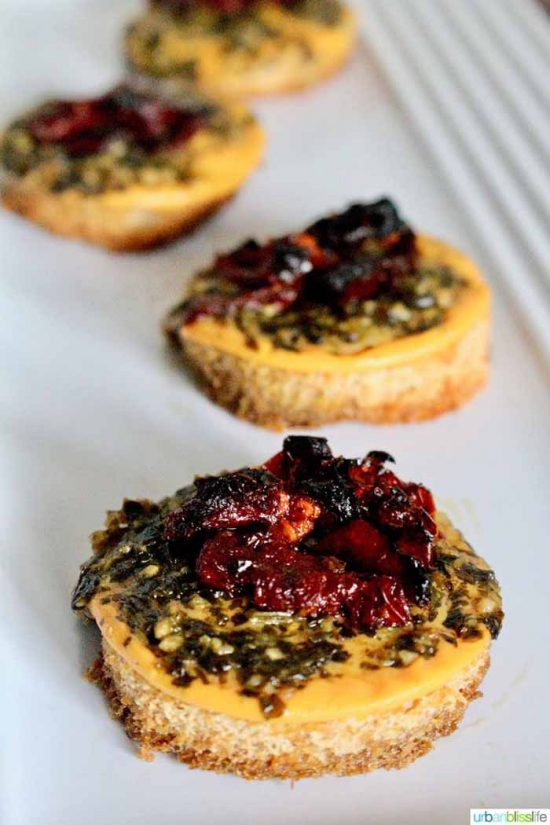 'Cheesy' Vegan Tomato Pesto Bites Appetizer at Urban Bliss Life