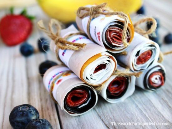 Berry Banana Homemade Fruit Roll Ups – A Simple Healthy DIY Snack from The Search For Imperfection.