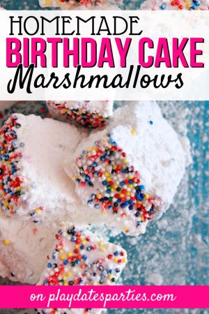 Filled with buttery flavor and coated with your favorite sprinkles, birthday cake marshmallows are a fun way to celebrate anytime. Head over to playdatesparties.com to see the full recipe, including tips for making the best marshmallows possible! #marshmallows #recipe #birthdaycake #sprinkles