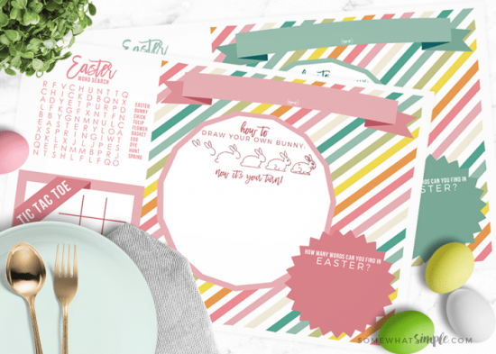 Easter Placemats – Free Printable for Kids from Somewhat Simple.