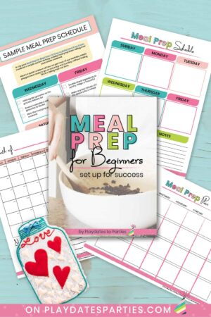 mock up of 5 pages of meal prep for beginners mini ebook on a light blue background