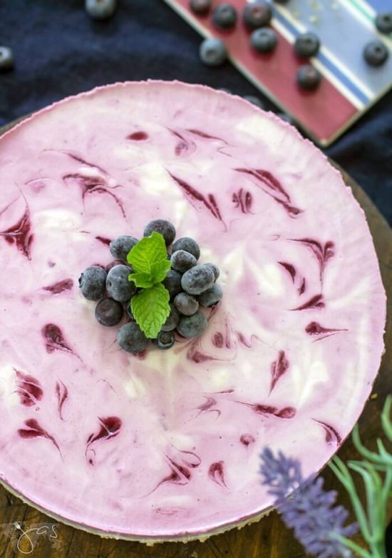 No-Bake Kefir Blueberry Cheesecake from All That's Jas.