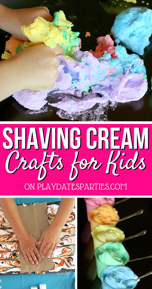 Looking for a quick and affordable way to have fun with your kids? Head over to playdatesparties.com to see 7 simple and incredibly fun shaving cream crafts to make with your kids. #kids #kidsplay #shavingcream #playmatters #PDPcreates