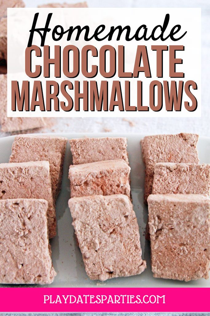 A picture of 9 chocolate marshmallows lined up on a plate with at text overlay that says Homemade Chocolate Marshmallows