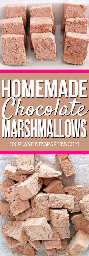 Tall collage with a text area that says Homemade Chocolate Marshmallows on playdatesparties.com