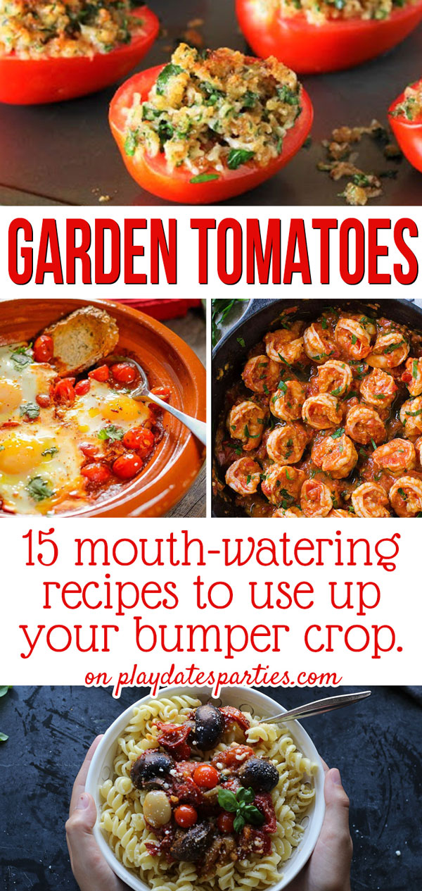 Too many tomatoes in your garden? Head over to playdatesparties.com to find 15 mouth-watering fresh tomato recipes to use up that bumper crop. #gardening #tomatoes #homegardening #pdpcooks