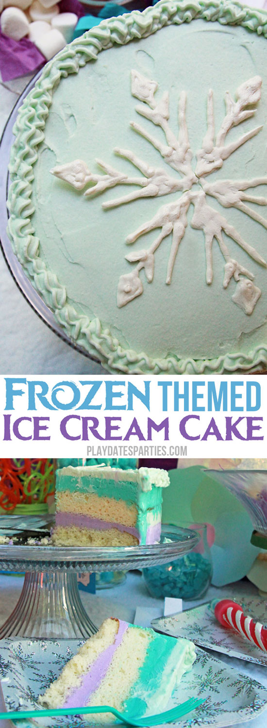 A collage of a frozen themed ice cream cake with a piped snowflake on top and layers of purple and teal ice cream with vanilla cake