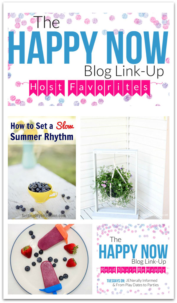 Get your weekly dose of happy inspiration! This week, featuring tips for slowing down your summer, healthy homemade popsicles, and a gorgeous #DIY hanging plant frame. #bloggingtips #linkparty #linkup #blogging