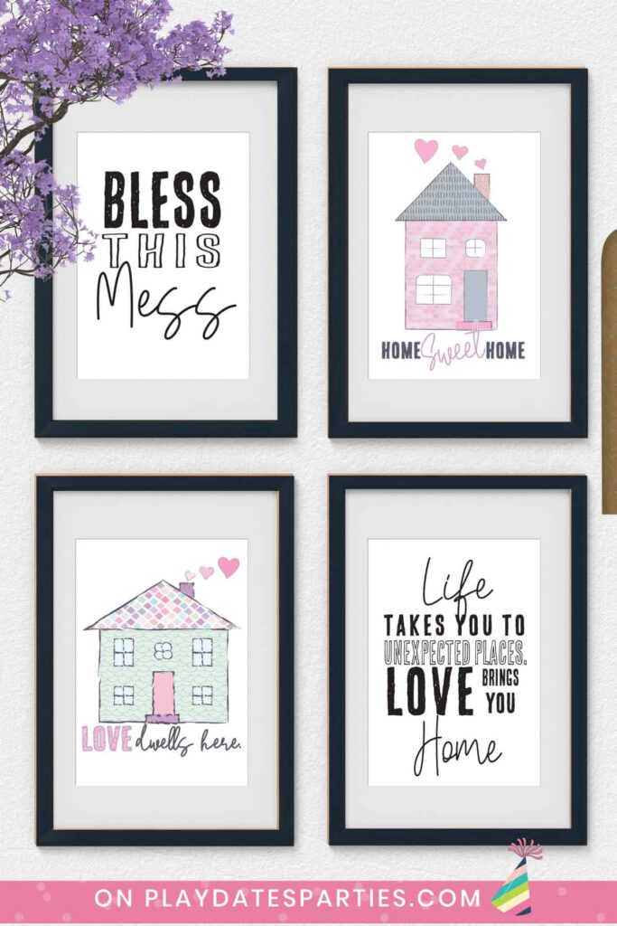 four framed prints on a wall. Two are of colorful homes and two are inspirational quotes about home