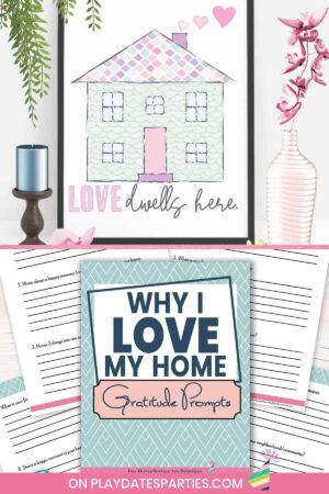 collage of two photos. The top photo is of a framed art print of a house. The bottom photo is a mockup of the why I love my home gratitude journal
