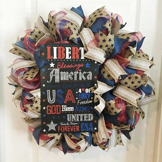 Patriotic Deco Mesh Wreath from Vintage + paint and more.