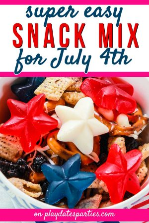 a close up of patriotic snack mix with red white and blue gummy stars and the text super easy snack mix for July 4th