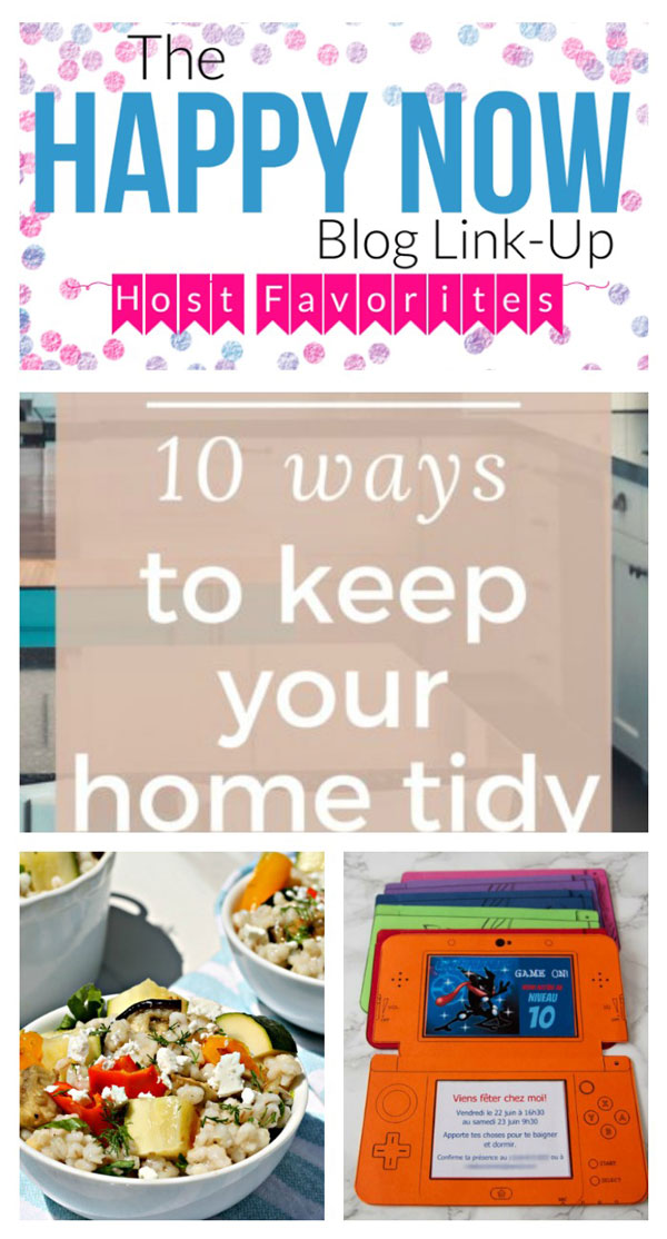 Talk about happy! Join the linkup & check out these fantastic features! 10 Ways to Keep Your Home Tidy, Summer Vegetable Barley Salad recipe, and DIY Nintendo 3DS printable party invitations! #bloggingtips #linkparty #linkup #blogging