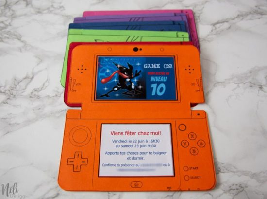 DIY Nintendo 3DS birthday invitations from Neli Designs.