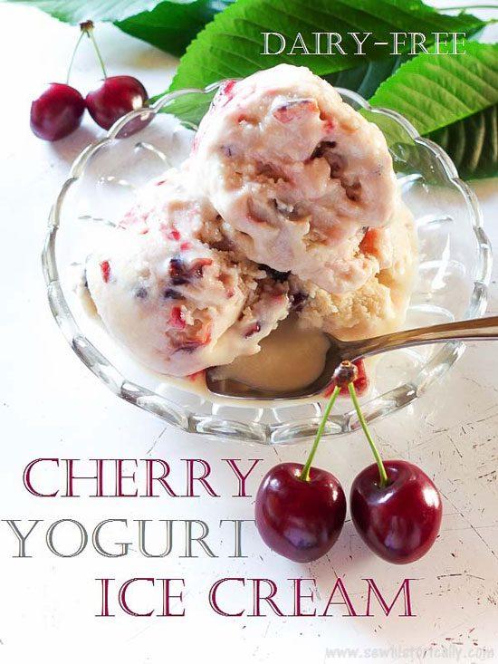 Cherry Yogurt Ice Cream – Dairy-Free, No Raw Eggs from Sew Historically.