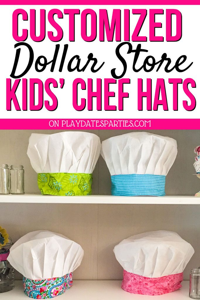 With this fun tutorial, you can make your own customized kids chef hat out of dollar store hats and scrap fabric. It's a great DIY project for baking parties, or as a gift idea for children who love cooking. #partyideas #bakingparty #sewing #kids #birthday #vintagebakeshop #bakeshop