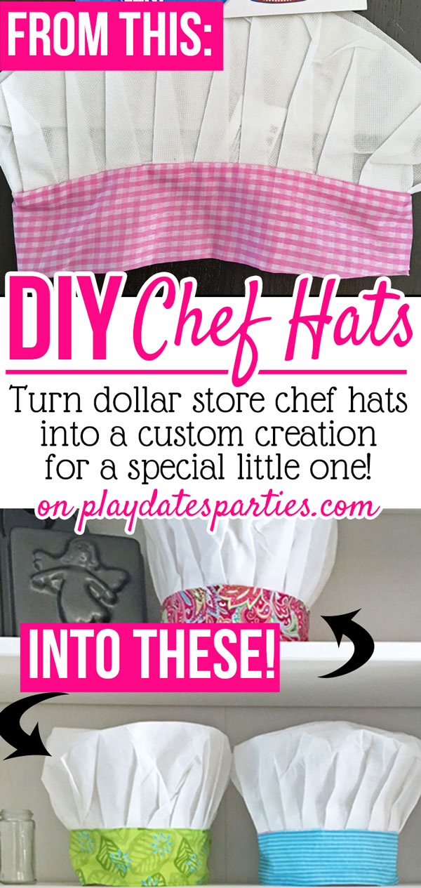 Little chefs will love this DIY craft Kids Chef Hat. Make them for a baking party, or as a fun birthday or holiday gift. Best of all, it can be washed and reused any number of times! #partyideas #bakingparty #sewing #kids #birthday #vintagebakeshop #bakeshop