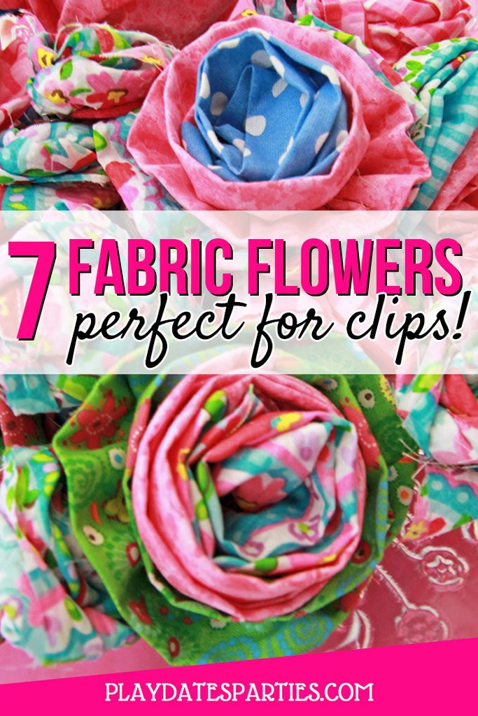 These are the BEST 7 easy DIY fabric flowers tutorials out there. Make a bunch at once and you're ready for all sorts of handmade crafts like shabby chic headbands, a rustic wreath, a cute brooch, or a fun party activity for kids. It's a great way to use up fabric scraps and let the kids decorate their own fashion accessories. #fabricflower #fabricflowers #DIY #diycrafts #howto #crafts #sewing