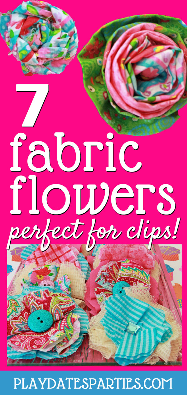 Put those fabric scraps to use and learn how to make DIY handmade fabric flowers for clips or any other project. These 7 easy tutorials are perfect for party activities, party favors, headbands, hair clips, or even a wreath, or belt.  Learn how to make big and small flowers, rolled roses, flat flowers, and more! The possibilities are truly endless! #fabricflower #fabricflowers #DIY #diycrafts #howto #crafts #sewing