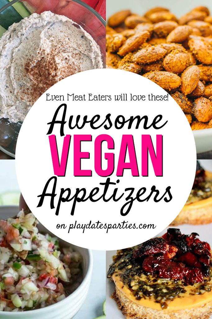 Even your guests who LOVE meat are going to love these 13 vegan appetizer recipes at your next party. From simple make-ahead dip and finger foods to fancy vegan ceviche, you'll find something everyone will enjoy. #vegan #appetizers #recipeoftheday   #vegetarianrecipes #healthyeating #appetizerrecipes #partyfood