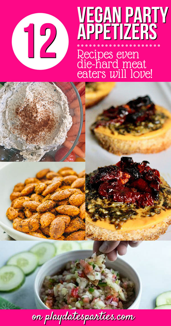 Looking for vegan appetizers that everyone will love? Take a look at these 13 best vegan recipes to serve at a party. Whether you want easy make-ahead food like a delicious cold dip, or something fancier for your holiday gathering, there are plenty of options that will impress even die-hard meat eaters. #veganrecipes #partyrecipes  #easyrecipe  #healthy #healthylifestyle #appetizerrecipes #fingerfood