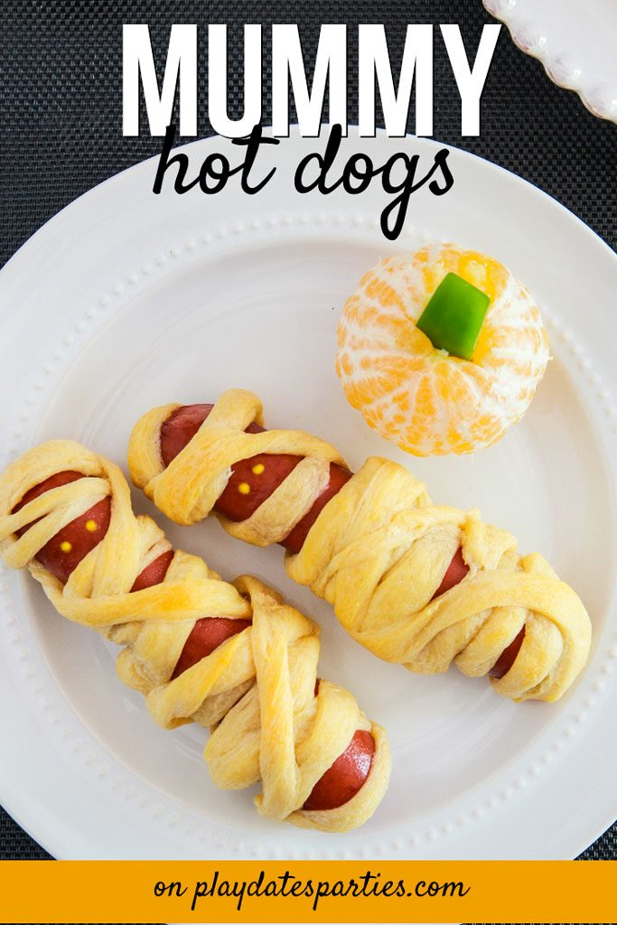 With fluffy crescent rolls and tasty hot dogs, kids love these Halloween mummy dogs. Make them for an easy dinner, or as a treat for a kids party #halloweenfood #halloweenparty #halloweentreats #funfood #kidsfood #pdpcooks